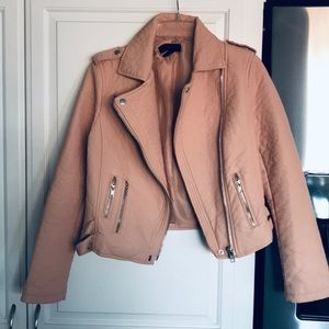 🎉2X HP🎉 NWOT Pale pink leather bomber jacket